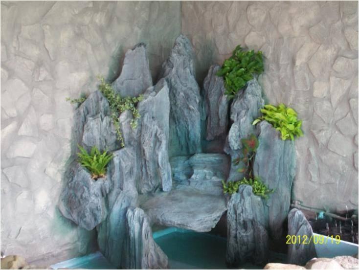 内假山水池图片,入户花园假山水池造型,水池假山设计效果图